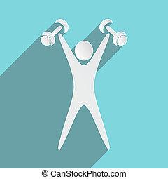 Exercising figure - White exercising figure with dumbbells...