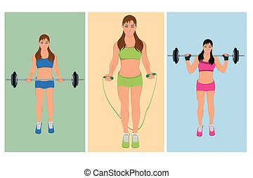 exercising fitness woman, vector