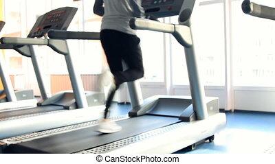 exercising., gymnase, course, o, gens