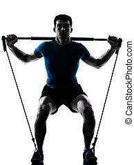 exercising, gymstick, разрабатывать, человек, фитнес, поза