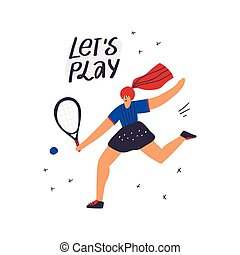 exercising, hånd, stram, spiller, tennis