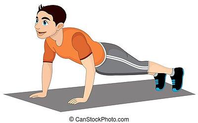 Exercising, man doing push-ups, vector illustration