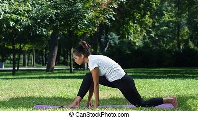 Exercising in nature. Sport. Yoga
