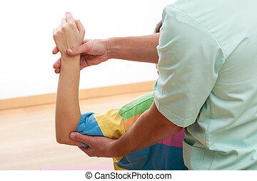 Exercising left arm