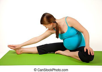exercising., mujeres, extensión, joven, embarazada