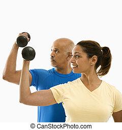 exercising., nő, ember