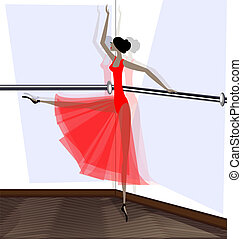 exercising of ballet dancer in red