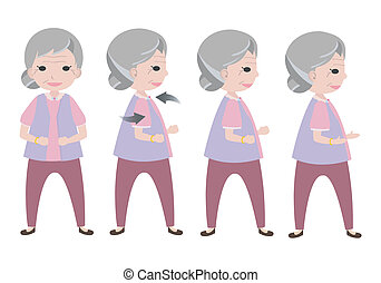 Exercising old woman with twisting posture