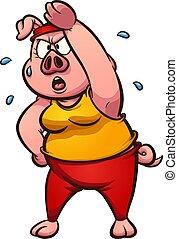 Exercising pig - Female pig exercising and sweating cartoon...