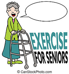 Exercising Senior Lady with Walker - An image of a elderly...