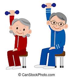 exercising, senior