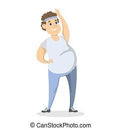 exercising., uomo grasso