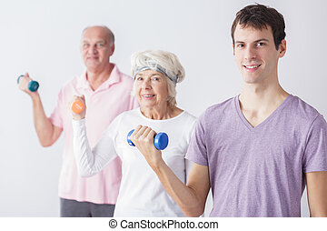 Exercising with seniors