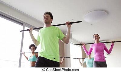 exercisme, barres, groupe, gymnase, gens