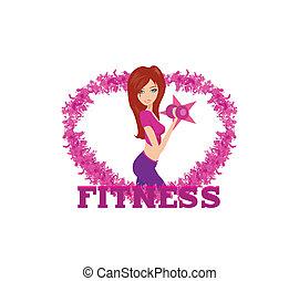 exercisme, crise, haltère, poids, elle, femme, mains, deux