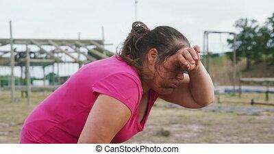 exercisme, fatigué, femme, bootcamp, caucasien, après
