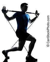 exercisme, gymstick, séance entraînement, homme, fitness, attitude