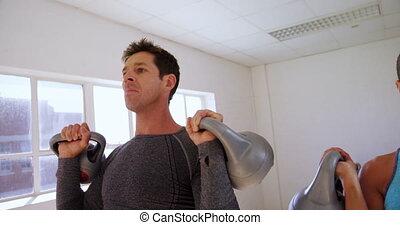 exercisme, homme, 4k, kettlebell, femme