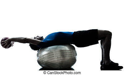 exercisme, séance entraînement, balle, homme, fitness, ...