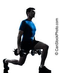exercisme, séance entraînement, poids, homme, formation, fitness, attitude