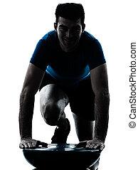exercisme, séance entraînement, poussée, bosu, homme, augmente, fitness, attitude