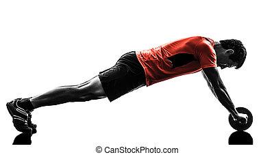 exercisme, séance entraînement, toning, homme, abdominal, fitness, roue
