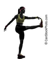 exercisme, silhouette, séance entraînement, femme, fitness, étirage
