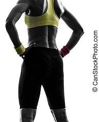 exercisme, silhouette, séance entraînement, fin, femme, fitness, fesses, haut