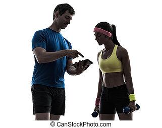 exercisme, silhouette, séance entraînement, fond, entraîneur, homme numérique, blanc, femme, fitness, une, tablette, utilisation