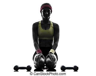 exercisme, silhouette, séance entraînement, poids, femme, fitness