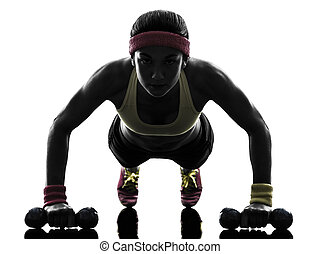 exercisme, silhouette, séance entraînement, poussée, femme, fitness, augmente