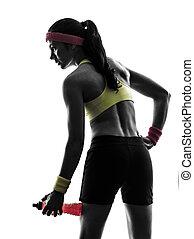 exercisme, tenue, silhouette, énergie, boisson, femme, fitness