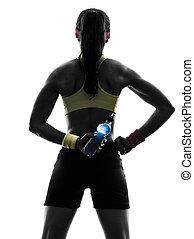exercisme, tenue, silhouette, vue, fond, énergie, boisson, blanc, femme, fitness, une, arrière