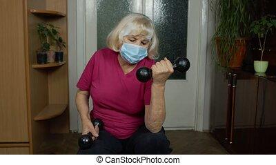 exercisme, vêtements de sport, haltérophilie, grand-mère, haltère, femme, mûrir, personne agee, maison