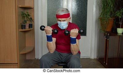 exercisme, vêtements de sport, homme, haltérophilie, haltère, mûrir, grand-père, personne agee, maison