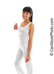 exercitar, mão, menina, bonito, pesos, condicão física