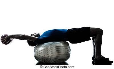 exercitar, malhação, bola, homem, condicão física, postura