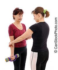 exercitar, mulher sênior, treinador