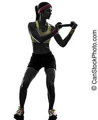 exercitar, silueta, malhação, treinamento peso, mulher, condicão física