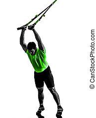 exercitar, silueta, suspensão, homem, treinamento, trx