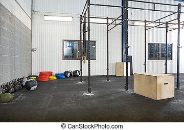 exercite equipamento, em, crucifixos, condicão física, caixa