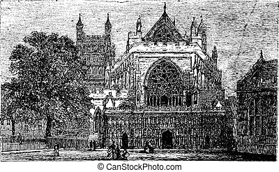Exeter Cathedral in England, United Kingdom, vintage engraving