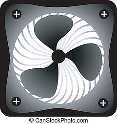 Exhaust fan - Illustration of a black and white coloured...