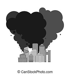 Exhaust gases from city. Environmental pollution. Factory and poisonous gas. death of all living things. Ecological catastrophy