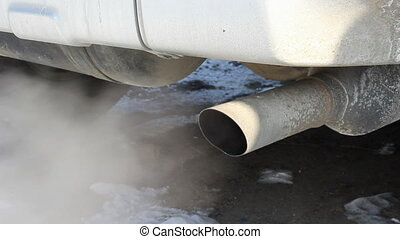 Exhaust gases from the muffler running car. HD H.264