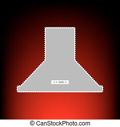 Exhaust hood. Kitchen ventilation sign. Postage stamp or old photo style on red-black gradient background.