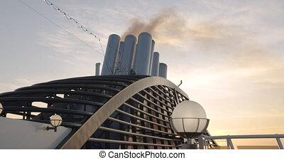 Exhaust smoke of a huge ocean giong cruise ship, closeup