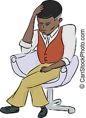 Exhausted Black Man - Exhausted African man sitting in chair...