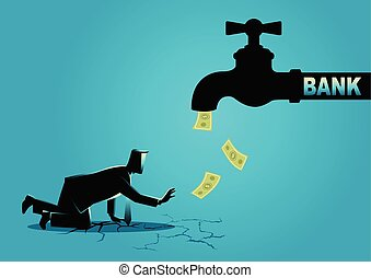 Exhausted businessman approaching a water tap flow with bank...