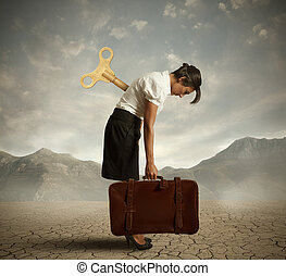 Exhausted businesswoman - Concept of an exhausted...